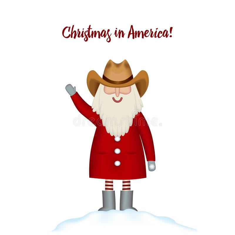 Molde do cartão de Natal Os desenhos animados de sorriso Santa feliz estão no monte de neve ilustração stock