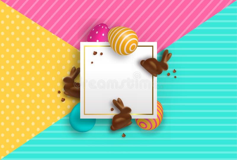 Molde do cartão de Páscoa com coelho e ovos do chocolate ilustração royalty free