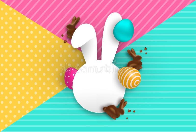 Molde do cartão de Páscoa com coelho e ovos do chocolate ilustração do vetor
