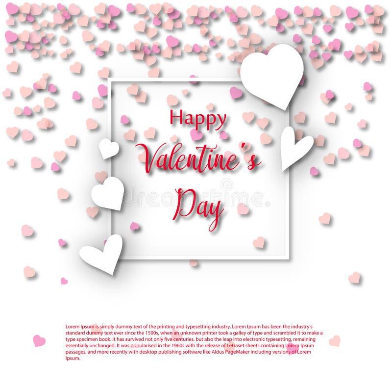 Molde do cartão de Valentine Day, projeto com coração vermelho, conceito da celebração do dia de são valentim ilustração royalty free
