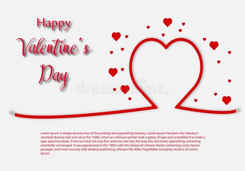 Molde do cartão de Valentine Day, projeto com coração vermelho, conceito da celebração do dia de são valentim ilustração stock