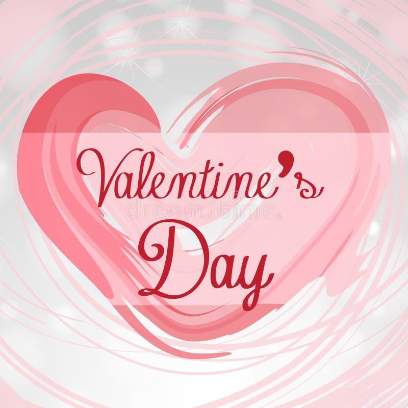 Molde do cartão de Velentine com coração cor-de-rosa ilustração do vetor