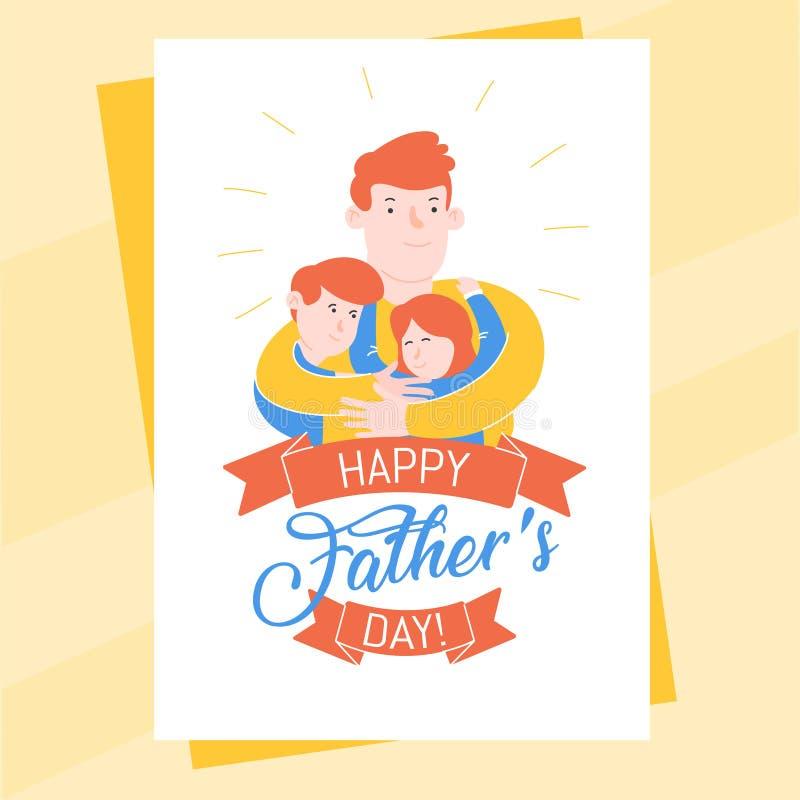 Molde Do Cartao Do Dia De Pais Com Pai Vermelho Abracando Seus