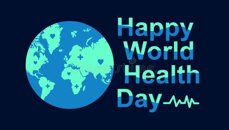 Molde do cartão do dia de saúde de mundo com imagens da terra ilustração stock