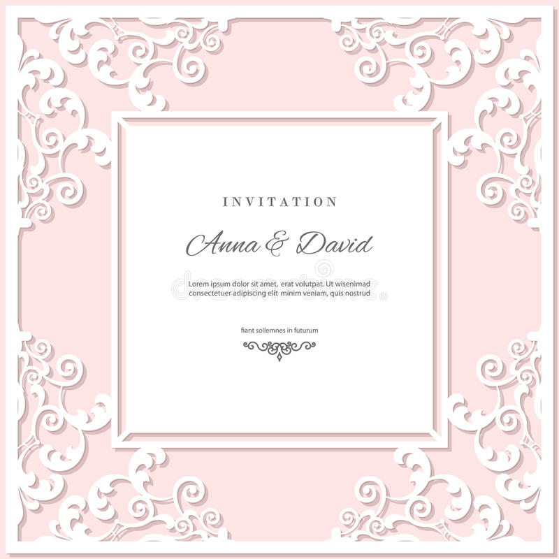 Molde do cartão do convite do casamento com quadro de corte do laser Cores do rosa pastel e do branco ilustração do vetor