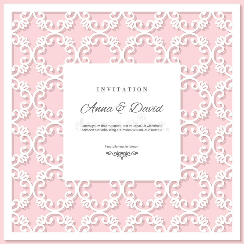 Molde do cartão do convite do casamento com quadro de corte do laser Cores do rosa pastel e do branco ilustração royalty free