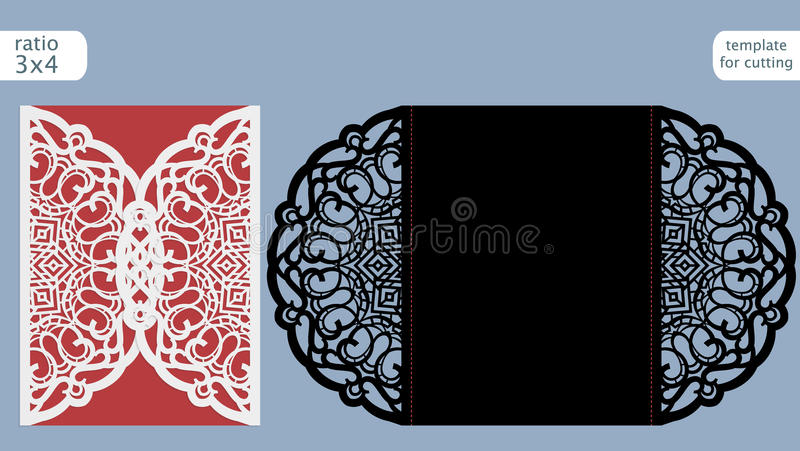Molde do cartão do convite do casamento do corte do laser Corte o cartão de papel com teste padrão do laço Molde do cartão para c ilustração royalty free