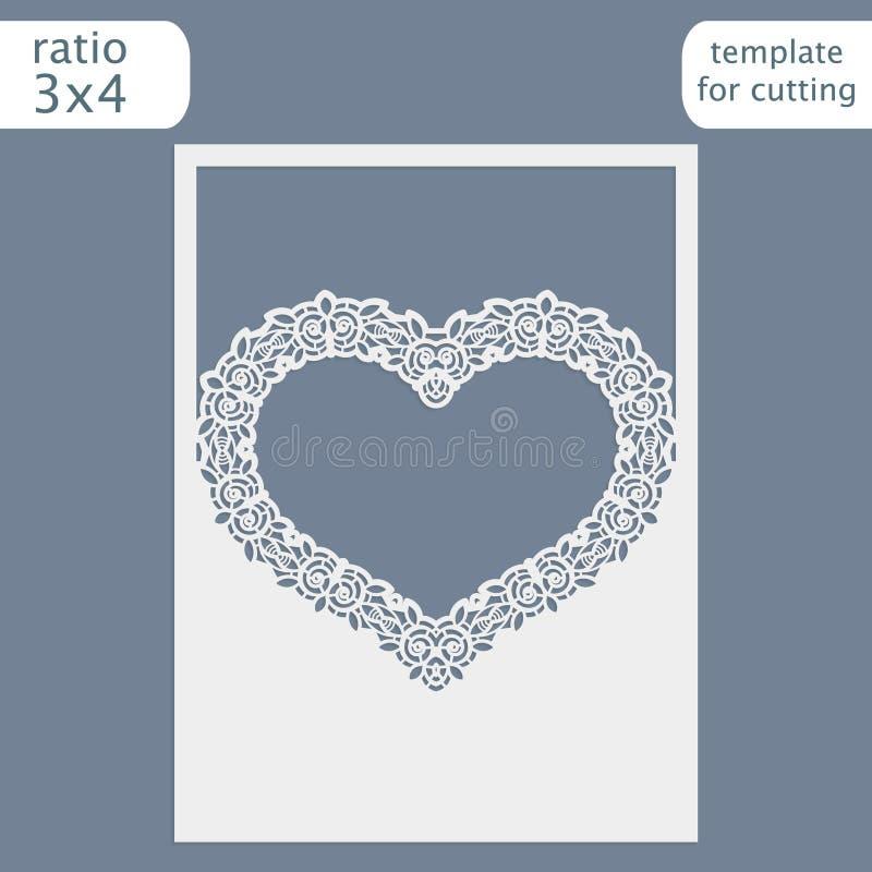 Molde do cartão do convite do casamento do corte do laser Corte o cartão de papel com teste padrão do laço Molde do cartão para c ilustração stock
