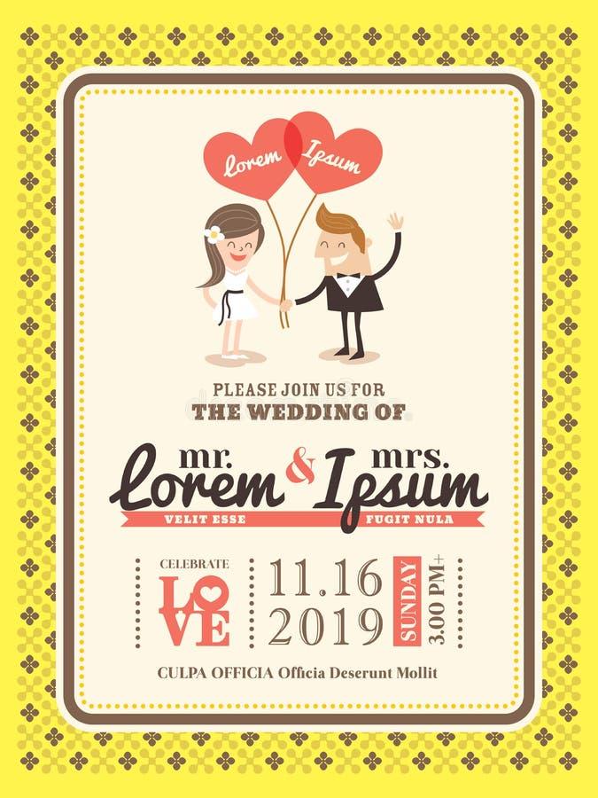Molde do cartão do convite do casamento dos desenhos animados ilustração royalty free