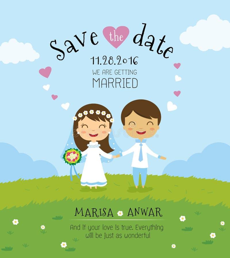 Molde do cartão do convite do casamento dos desenhos animados foto de stock