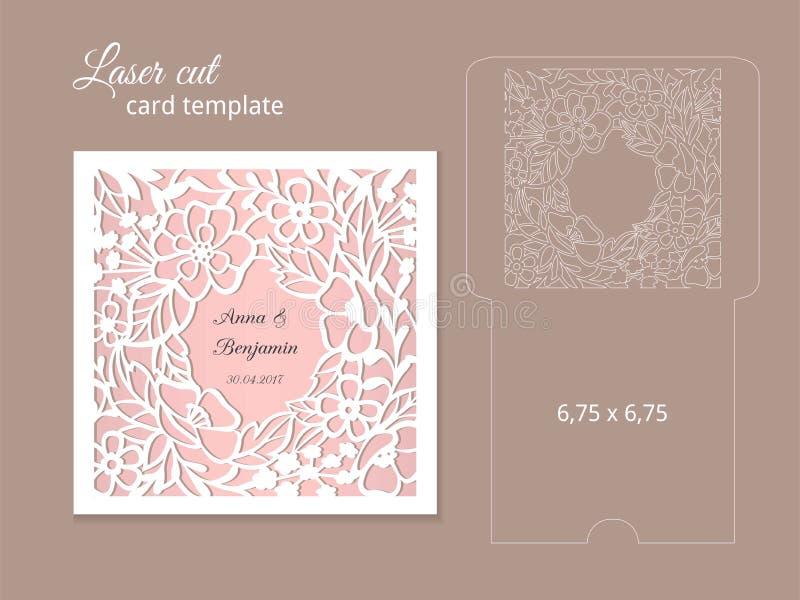 Molde do cartão do convite do corte do laser ilustração do vetor