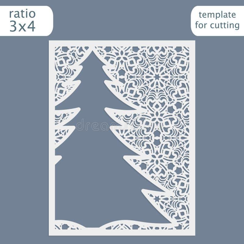 Molde do cartão do convite do Natal do corte do laser Corte o cartão de papel com teste padrão do laço Molde do cartão para corta ilustração royalty free