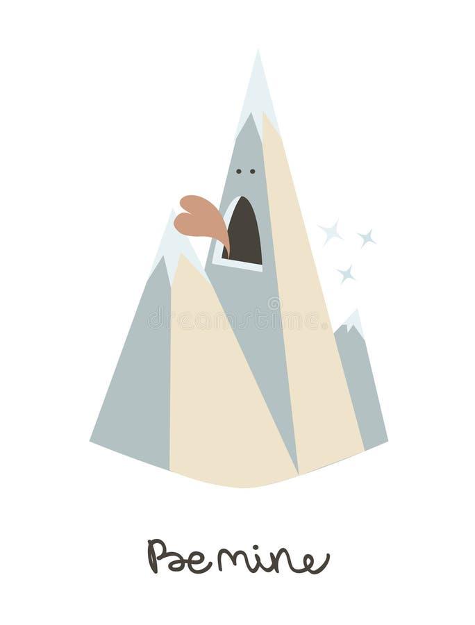Molde do cartão do dia de Valentim com montanha Pa tailandês Nang do nome do alimento Ilustração original do vetor ilustração do vetor