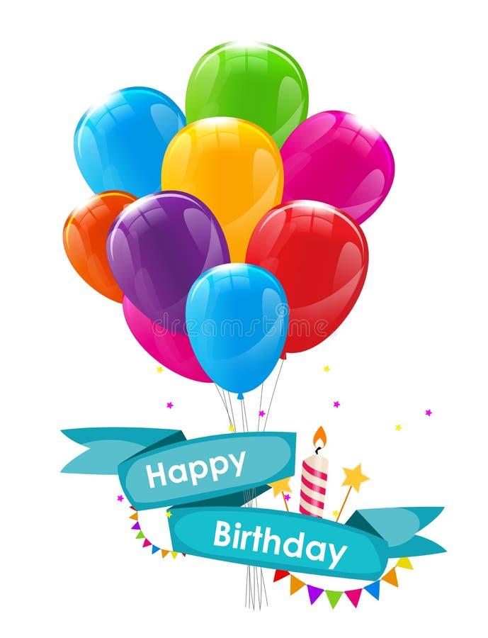 Molde do cartão do feliz aniversario com balões, fita e vela VE ilustração stock