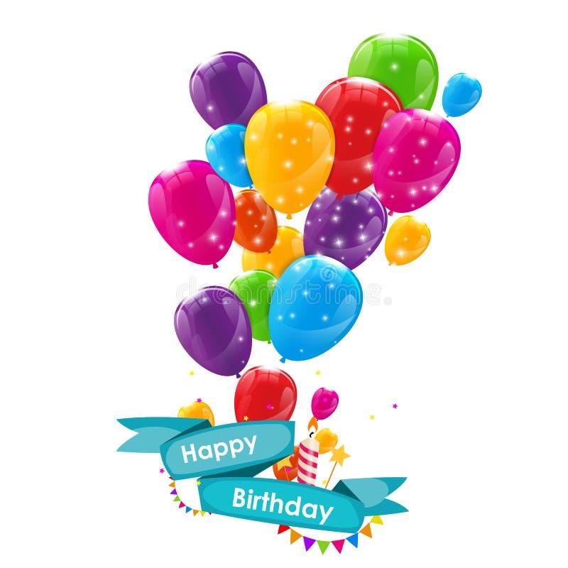 Molde do cartão do feliz aniversario com balões, fita e vela VE ilustração royalty free
