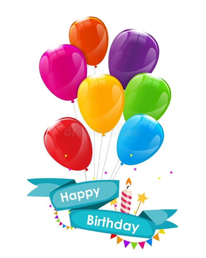 Molde do cartão do feliz aniversario com balões, fita e vela VE ilustração do vetor