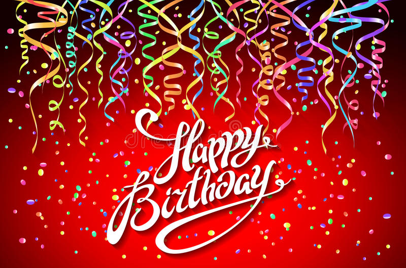Molde do cartão do feliz aniversario, confete Fundo do feriado Vista superior projeto do sinal com vetor colorido dos confetes ilustração stock
