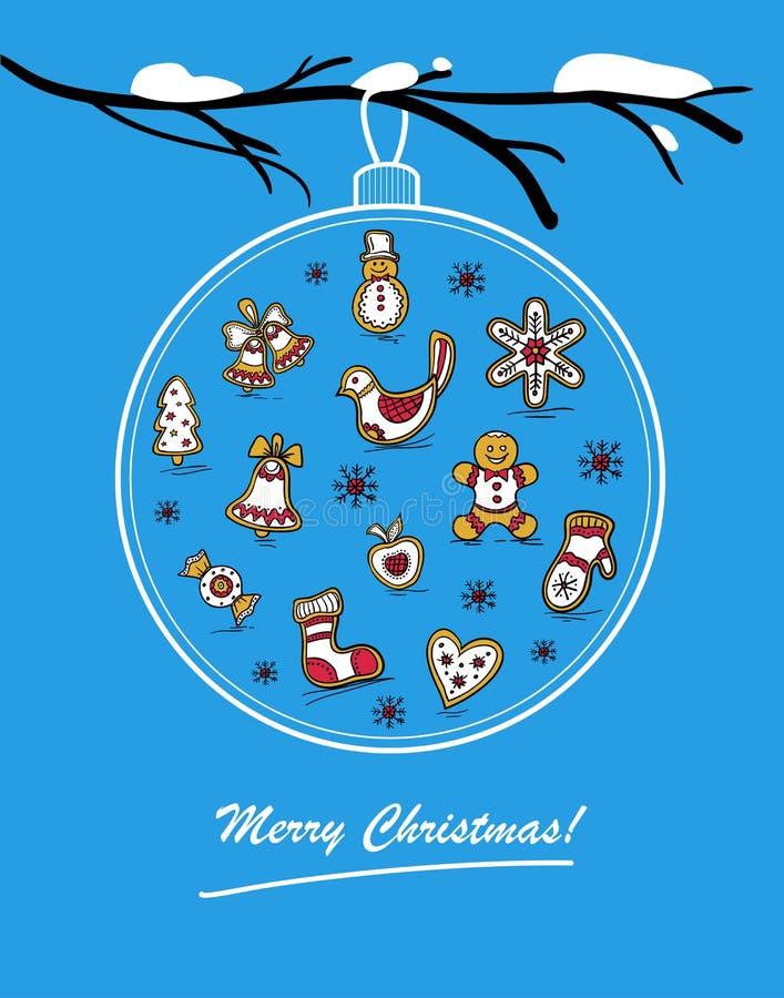 Molde do cartão do feriado com bola de vidro Cartão do Feliz Natal ilustração royalty free
