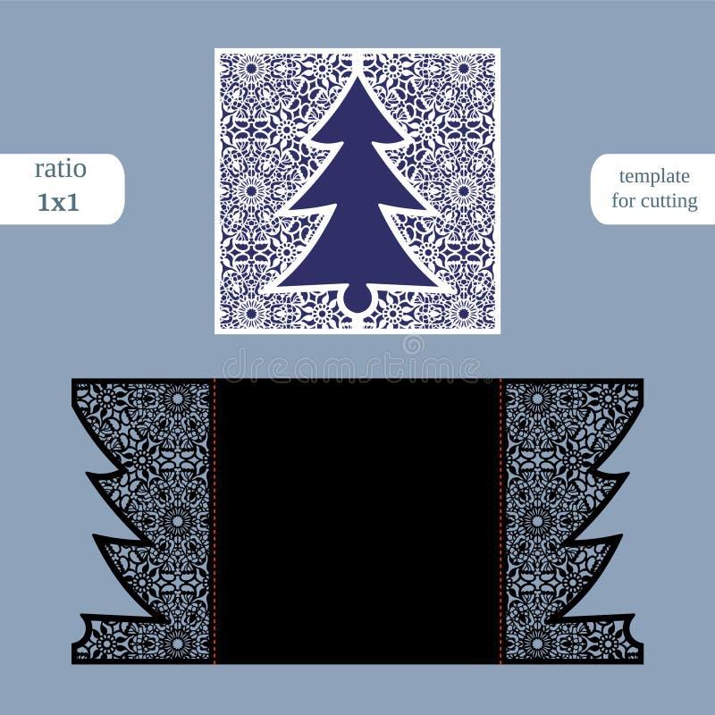 Molde do cartão do quadrado do Natal do corte do laser Corte o cartão de papel com teste padrão do laço Molde do cartão para cort ilustração do vetor