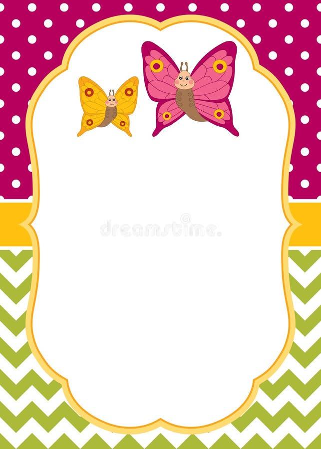 Molde do cartão do vetor com as borboletas dos desenhos animados no às bolinhas e no fundo de Chevron Borboletas do vetor ilustração do vetor