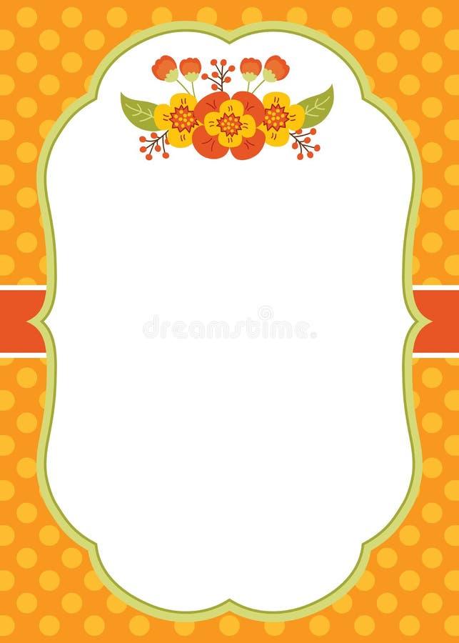 Molde do cartão do vetor com Autumn Flowers na polca Dot Background ilustração royalty free