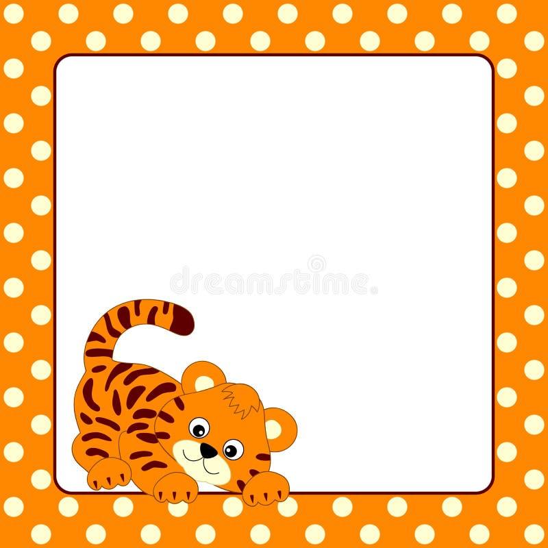 Molde do cartão do vetor com tigre de bebê e polca Dot Background ilustração royalty free