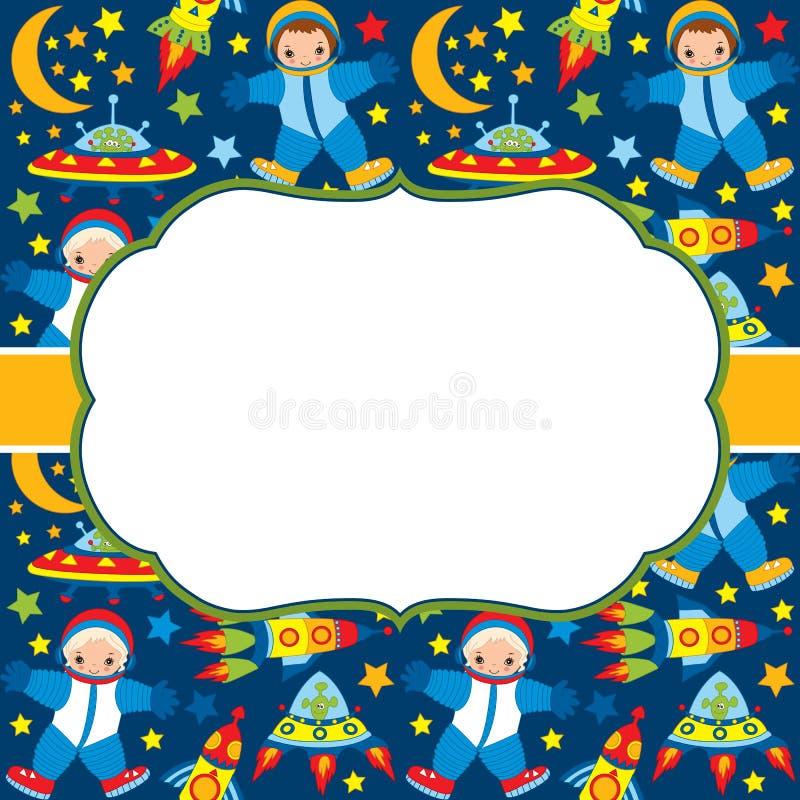 Molde do cartão do vetor com um quadro em um fundo do espaço Astronautas do vetor e elementos do espaço ilustração do vetor