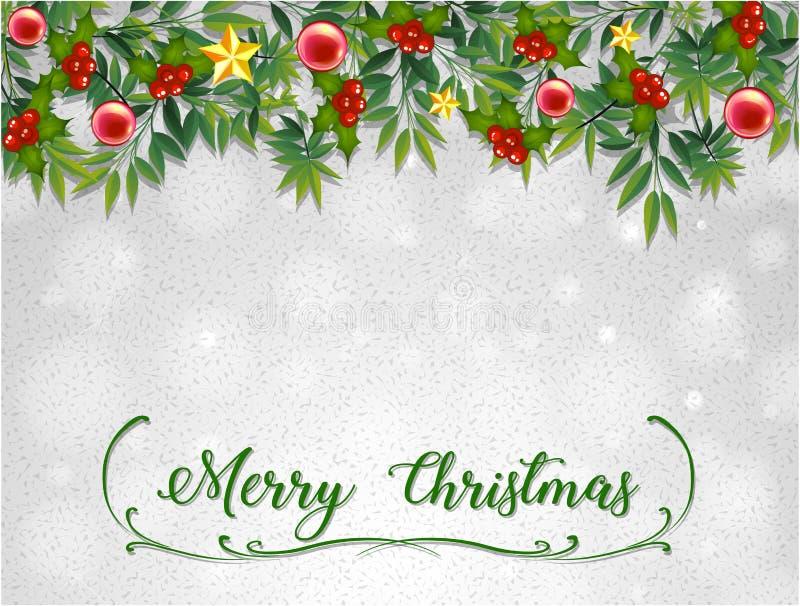 Molde do cartão do Feliz Natal com viscos ilustração royalty free