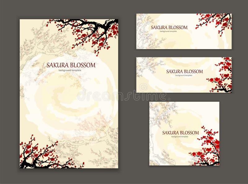 Molde do cartão, flor de sakura do elemento do projeto ilustração do vetor