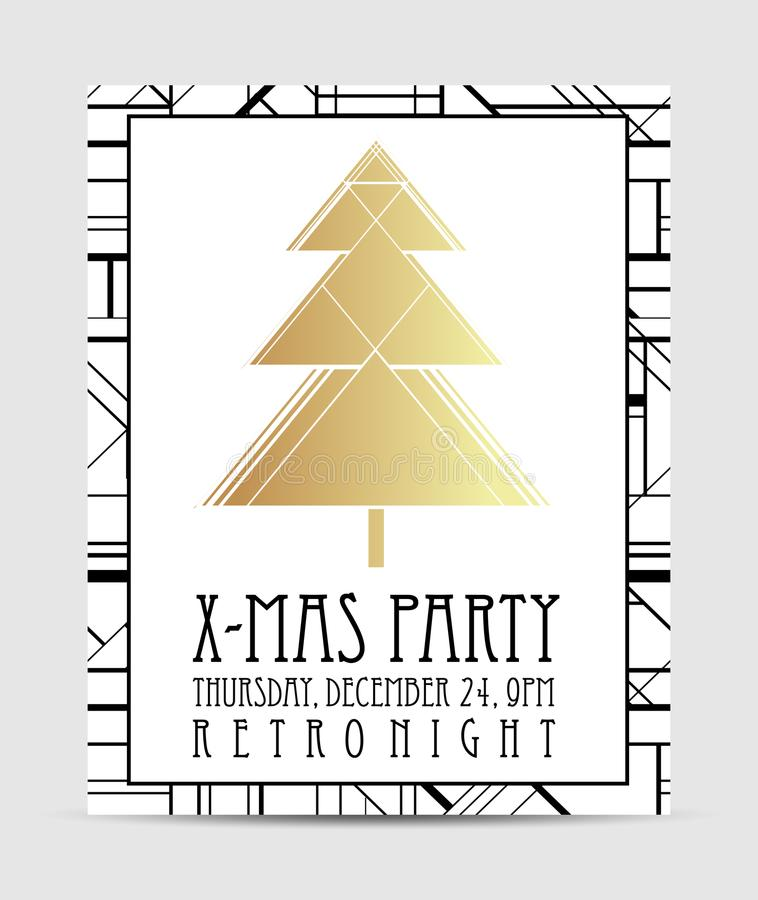 Molde do cartão do Natal do estilo do art deco Vintag abstrato ilustração do vetor