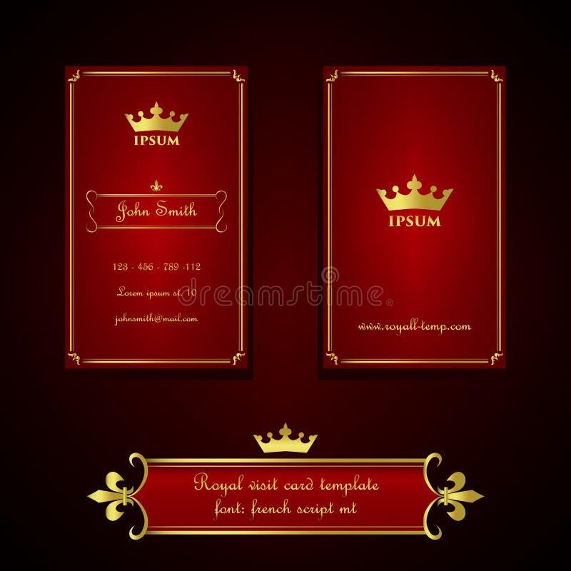 Molde do cartão no estilo real do vermelho e do ouro ilustração royalty free