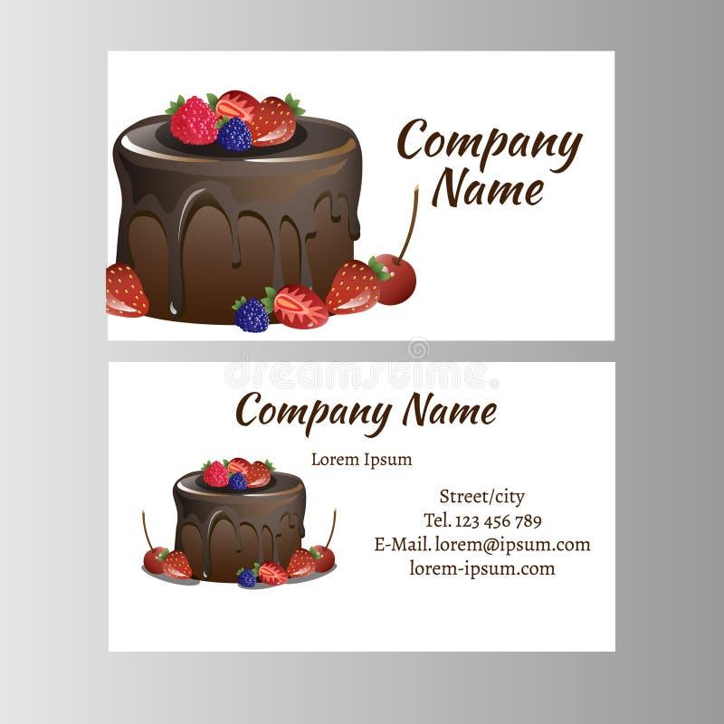Molde do cartão para o negócio da padaria ilustração stock