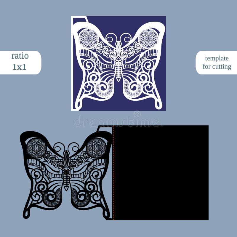 Molde do cartão do quadrado do casamento do corte do laser Corte o cartão de papel com teste padrão de borboleta Molde do cartão  ilustração stock
