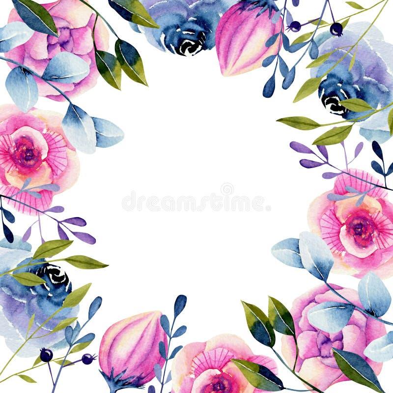 Molde do cart?o com rosa da aquarela e rosas e pe?nias azuis ilustração do vetor