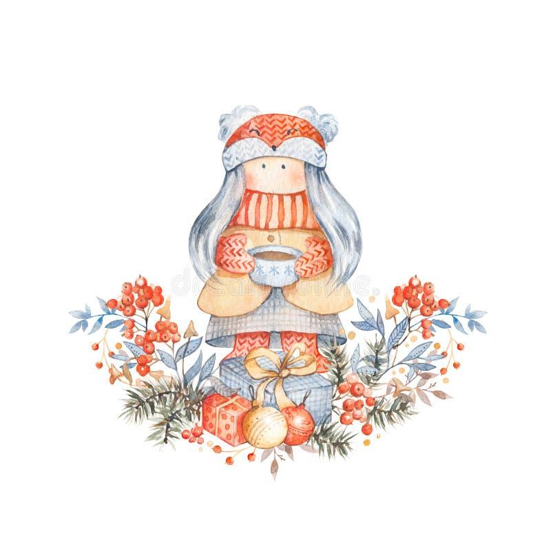 Molde do cart?o do Natal com personagem de banda desenhada bonito ilustração do vetor