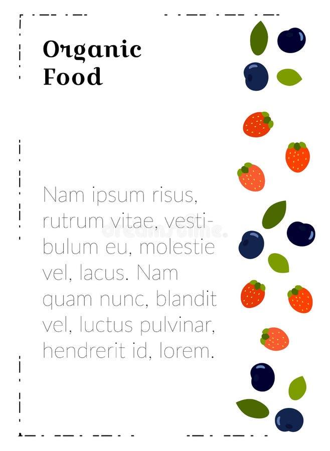 Molde do cartaz A4 com alimento para materiais de mercado Alimento biológico - bagas lisas para um menu do restaurante do vegetar ilustração stock