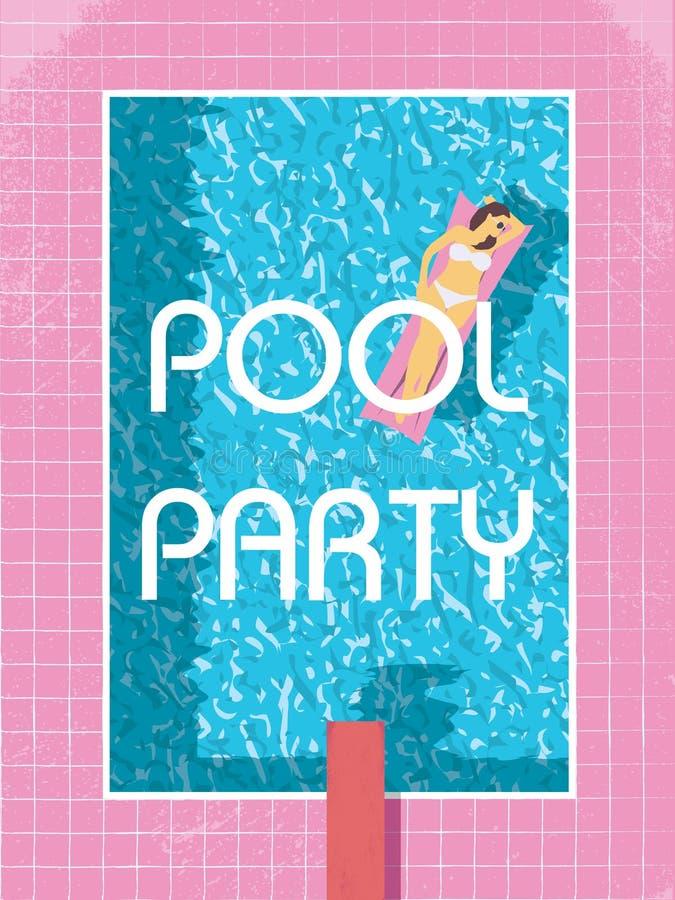 Molde do cartaz da festa na piscina com a mulher 'sexy' no banho de sol do biquini ilustração retro do vetor do estilo do vintage ilustração stock