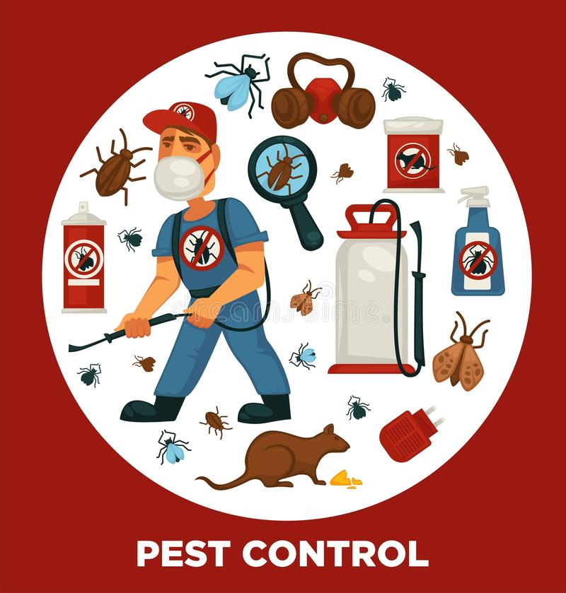Molde do cartaz da informação de empresa de serviços da exterminação ou do controlo de pragas para a desinfecção doméstica sanitá ilustração royalty free
