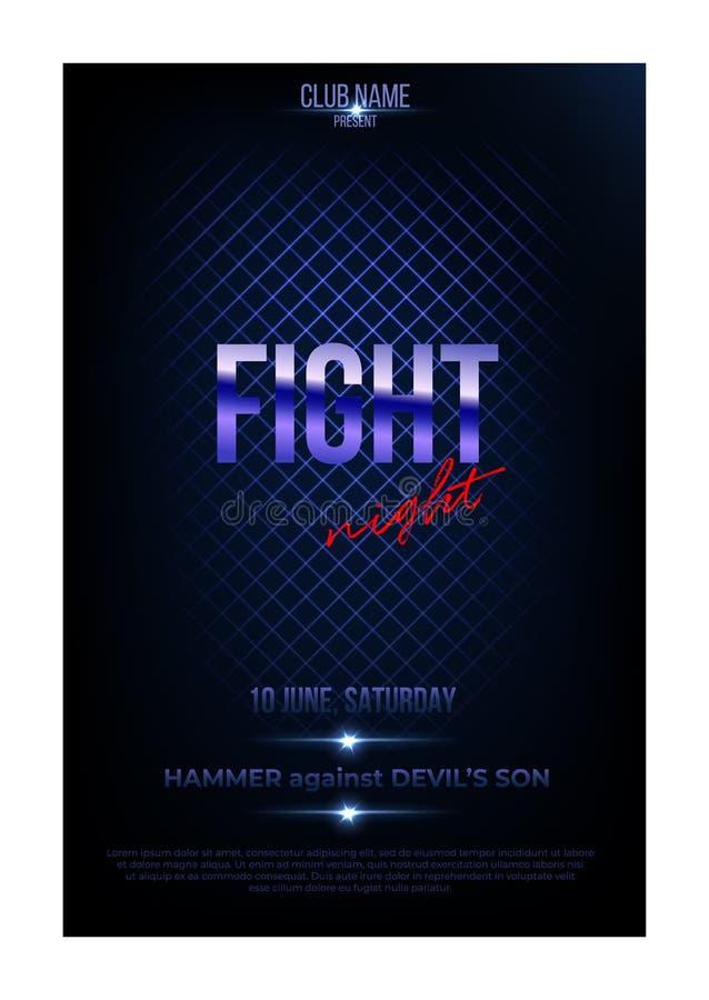 Molde do cartaz da noite da luta Vector palavras douradas na obscuridade - fundo azul ilustração stock