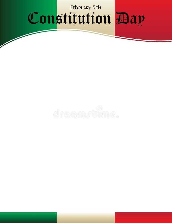 Molde do cartaz do dia da constituição de México com bandeira mexicana ilustração do vetor
