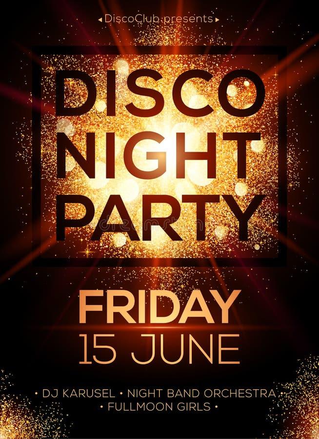 Molde do cartaz do partido da noite do disco com brilho ilustração stock