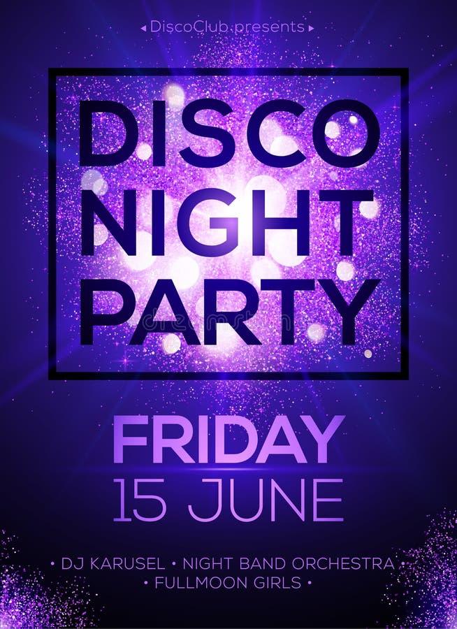 Molde do cartaz do partido da noite do disco com brilho ilustração do vetor