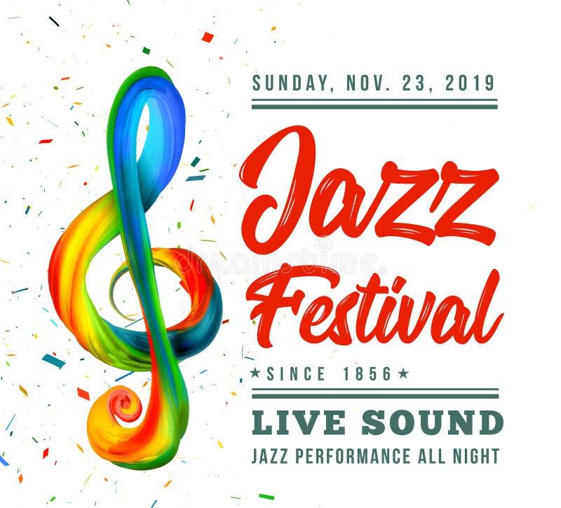 Molde do cartaz do festival de jazz com uma clave de sol e texto em um fundo preto ilustração stock