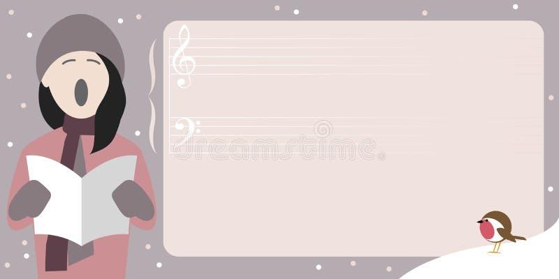 Molde do cartaz do Natal com a moça que canta uma música de natal do Natal ilustração do vetor