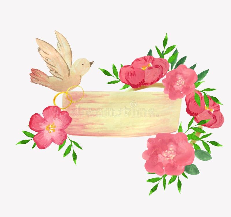 Molde do casamento com pássaro, anéis e flores ilustração do vetor