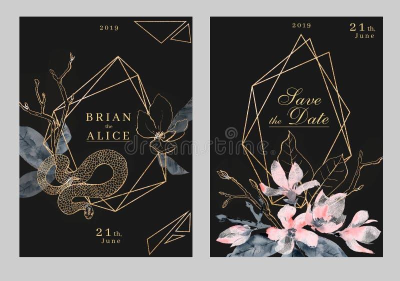 Molde do casamento do convite da aquarela Cores luxuosas escuras e douradas ilustração royalty free