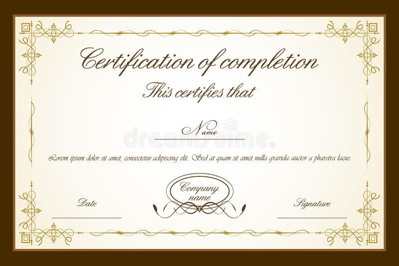 Molde do certificado ilustração do vetor