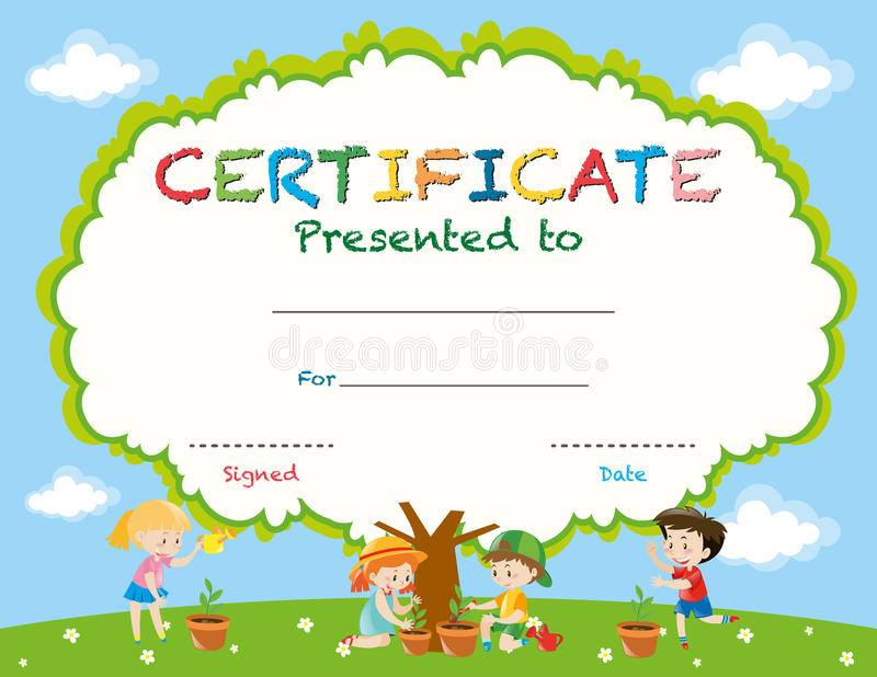 Molde do certificado com as crianças que plantam árvores ilustração stock