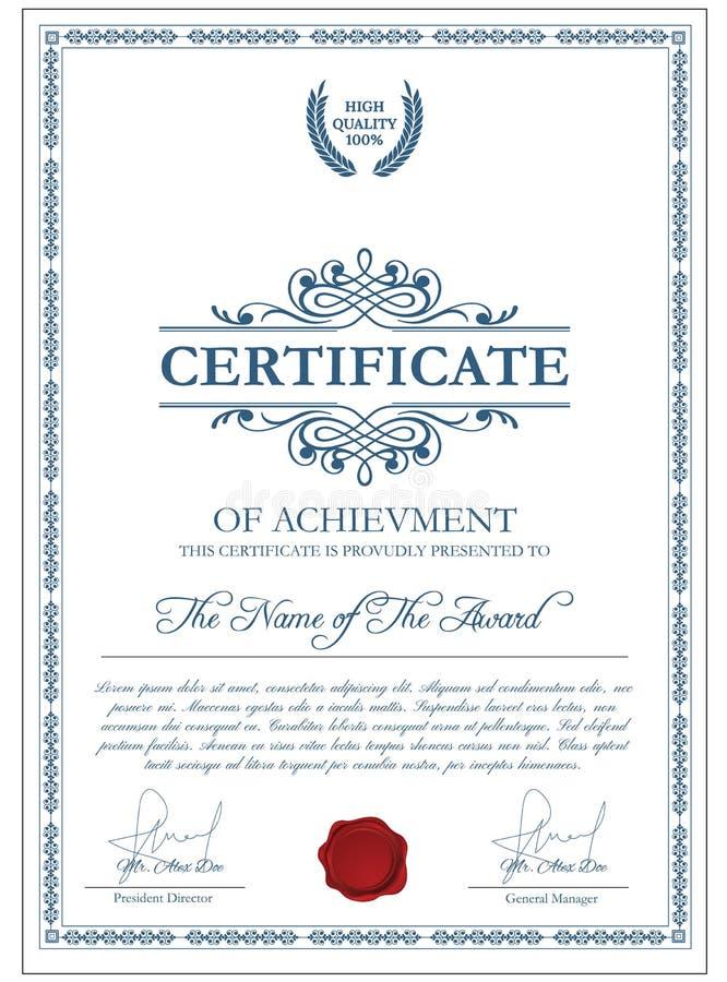 Molde do certificado com elementos do guilloche ilustração stock