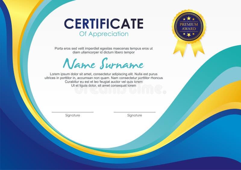 Molde do certificado com projeto à moda da onda ilustração stock